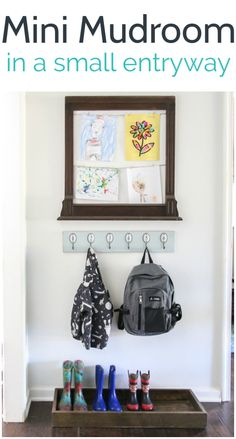Small entryway full of charm and function - Lovely Etc. - Small entryway full of charm and function – Lovely Etc. Create a mini mudroom in a tiny space with a backpack station, shoe storage, and a spot to display kids artwork. Backpack Station, Shoe Storage Small, Displaying Kids Artwork, Inside Home, Built In Bookcase, Old Frames, Toy Rooms, Hanging Art, Wooden Diy