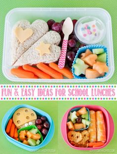 Use cookie cutters to make the sandwich, cheese and fruits different. Make sure the kids actually eat the lunches. http://hative.com/fun-and-easy-school-lunch-ideas-for-kids/