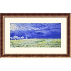 Great American Picture Field Under a Stormy Sky Bronze Framed Print - Vincent van Gogh - 203560-Bron