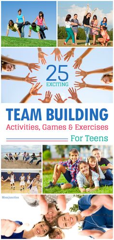 25 Exciting Team Building Activities Games & Exercises For Teens: learn to work together to accomplish a goal. Besides team-building activities also help hone your teens communication leadership and problem-solving skills. Fun Team Building Activities, Team Building Exercises, Leadership Activities, Youth Activities, Therapy Activities, Leadership Exercises, Outdoor Team Building Activities, Building Ideas, Games For Team Building
