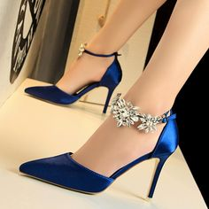 Women's Royal Blue Ankle Strap Pointy Toe Stiletto Heels Wedding Shoes Today Only! Women's Royal Blue Ankle Strap Pointy Toe Stiletto Heels Wedding Shoes Ankle Strap Heels, Pumps Heels, Stiletto Heels, Ankle Straps, High Heels, Wedding Shoes Heels, Bride Shoes, Royal Blue Wedding Shoes, Royal Blue Dress Shoes