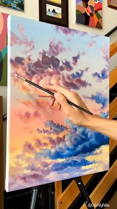 Acrylic Art, Acrylic Painting Canvas, Painting Clouds, Acrylic Painting Tutorials, Diy Canvas Art, Canvas Word Art, Watercolor Art Lessons, Art Painting Gallery, Pastel Clouds