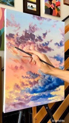 Watercolor Art Lessons, Watercolor Pencil Art, Easy Watercolor, Watercolor Paintings, Diy Canvas Art, Simple Canvas Paintings, Easy Canvas Painting, Acrylic Landscape Painting, Acrylic Sky Painting