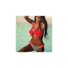 Fringed Printed Tankini (€13) ❤ liked on Polyvore featuring swimwear, bikinis, women, fringe swimwear, tankini swimwear, fringe bikini and tankini bikini
