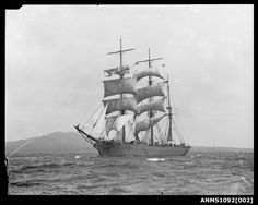 https://flic.kr/p/f9Nrsa | Three masted barque, possibly ROTHESAY BAY | This photo is part of the Australian National Maritime Museum's William Hall collection. The Hall collection combines photographs from both William J Hall and his father William Frederick Hall. The images provide an important pictorial record of recreational boating in Sydney Harbour, from the 1890s to the 1930s – from large racing and cruising yachts, to the many and varied skiffs jostling on the harbour, to the new…