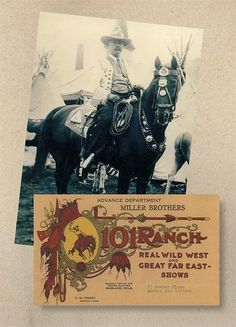 101 Ranch Real Wild West ShowThe 101 Ranch Real Wild West was a by-product of a successful Oklahoma ranch empire. Operated by the three Miller brothers, with Joe, shown at right, being the oldest and most prominent, the show was extremely successful and spawned personalities such as Lucille Mulhall, Bill Pickett, Will Rogers and Tom Mix.