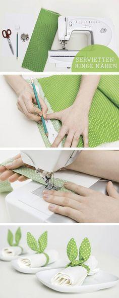 Oster-Anleitung: Österliche Serviettenringe mit Hasenohren basteln, Osterdeko / easter tutorial: craft easter decoration, napkin rings via DaWanda.com