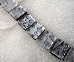 Fused Glass Link Bracelet, Silver and Black Link Bracelet, Classic Career Jewelry, Sparkling White Link Bracelet, Black & White Bracelet by HSokol on Etsy https://www.etsy.com/listing/235328251/fused-glass-link-bracelet-silver-and