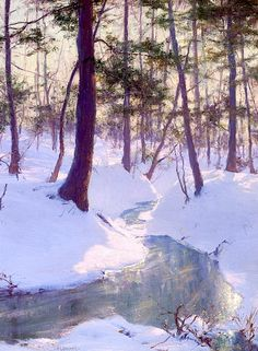 """Stream in Winter, Sunset"" 