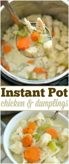 This 20 minute Instant Pot chicken and dumplings recipe is incredible! The best pressure cooker chicken recipe ever, and the ultimate comfort food. via @thetypicalmom