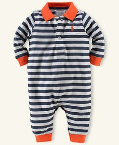 Ralph Lauren Baby Coverall, Baby Boys Striped Polo Coverall - Kids Newborn Shop - Macy's