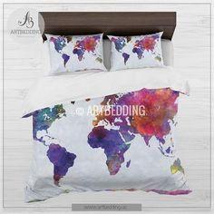 Watercolor world map bedding, Boho chic world map duvet cover set, Paint splashes duvet cover set, College bedding, dorm bedspread