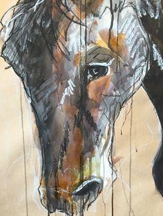 Horse head, art work, illustration, drawing, mix media, ink wash, oil pastal www.meierwilliams.com