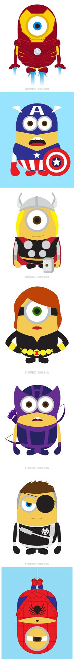 """Despicable Me"" Minions As Marvel Superheroes The minions of the movie ""Despicable Me"" in their new alternate heroic adventures. By Kevin Magic Lam.Minions as super heros -_- flipping awesome Minions Love, My Minion, Minions Pics, Marvel Dc Comics, Marvel Avengers, Minion Avengers, Marvel Funny, Anime Echii, Geeks"