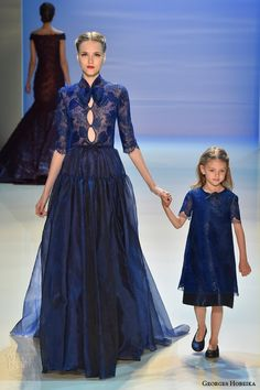 georges hobeika couture fall winter 2014 2015 look 21 deep lace blue gown with keyhole sleeves