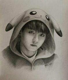 My life is drawing Kpop Fanart, Jungkook Fanart, Bts Jungkook, Kpop Drawings, Bts Chibi, Art Sketches, Fashion Sketches, Pikachu, Fan Art