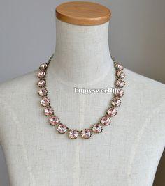 light pink  Crystal Venus flytrap necklace Bib Necklace Statement Necklace,Wedding Necklace, Holiday Party Necklace