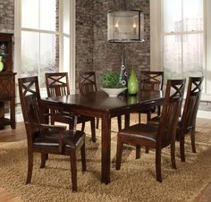 Features Simplistic dining in a rich finish that is casual and versatile. Quality veneers over wood products and select solids used throughout. This set include