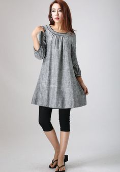 Linen tunic tunic dress shift dress grey tunic tunic top womens tops loose dress linen clothing plus size womens tunic by xiaolizi Linen Tunic Dress, Linen Dresses, Tunic Designs, Mini Shirt Dress, Mode Hijab, Ladies Dress Design, Tunic Tops, Fashion Outfits, Round Collar