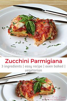 Zucchini Parmesan or Parmagiana is baked and easy to make with the abundance of fresh zucchini Vegetarian Wine, Vegetarian Recipes, Healthy Recipes, Free Recipes, Weeknight Recipes, Healthy Sugar, Going Vegetarian, Weeknight Dinners, Vegetable Dishes