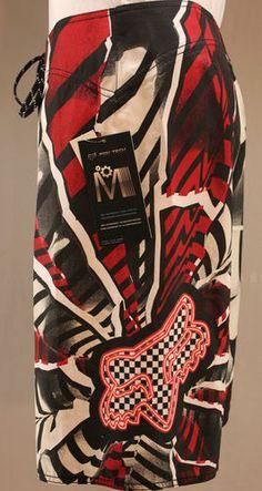 Fox Racing black white & red Fox Tech boardshorts