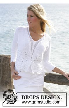 DROPS cardigan knitted in wave pattern with Bomull-Lin. Size S - XXL Free pattern by DROPS Design.