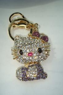 Hello Kitty Keychain Purse Charm Swarovski Elements Crystals cb4e0a4bce2dc