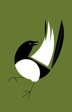 Harperesque magpie by Charley Harper Charley Harper, Bird Illustration, Magpie, Bird Art, Beautiful Birds, Pet Birds, Silhouettes, Illustrators, Design Art