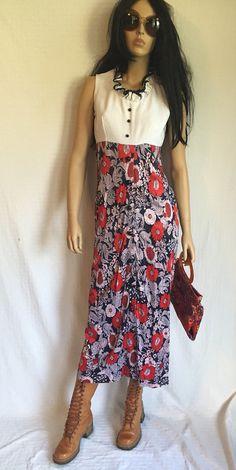 Bicentennial Influence ?  Vintage 70's Psychedelic Maxi Dress - Retro Hippie Maxi Long Dress - Mod Floral
