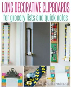 It's always great to have a quick and easily accessible place to jot down notes, a grocery list, reminders, etc. This long clipboard is perfect for the job and so simple to make. You can decorate it how ever you want using paint, stain, duck tape, or washi tape. These would make awesome gifts!