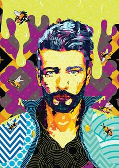 Il percorso iniziatico - #digital #pop #popart #artprint #bee #bees #honey #honeybee #beehive #bearded #beard #bear #printart #vector #urbanart #graphic #digitalart #hipster  #hypsteria  #francescomessina www.francescomessina.net