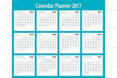 2018 calendar. Print Template. Week Starts Sunday. Portrait Orientation. Set of 12 Months. Planner for 2018 Year. by Golden Sikorka  on @creativemarket