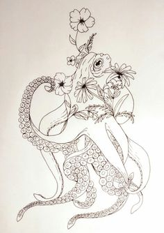 Beautiful Octopus with Flower Tattoos For Women