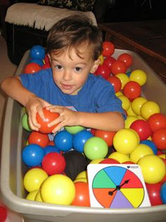 activity that focuses on slowly easing into laying in the balls, starts off by retrieving one, and so on until all are retrieved and the kiddo can sit in the basket of plastic balls Sensory Diet, Sensory Issues, Sensory Activities, Activities For Kids, Sensory Processing Disorder Autism, Kids Night Out, Sensory Integration, Autism Resources, School Themes
