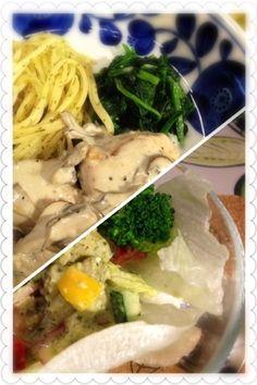 鮭とクリームは合いますね♡ - 3件のもぐもぐ - 鮭のキノコたっぷりクリーム煮・ジェノバ風ポテトサラダ by uraramama