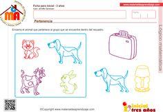 """Actividad """"Pertenencia"""" para niños a partir de los 3 años. Encierra al animal que pertenece al grupo que se encuentra dentro del recuadro."""