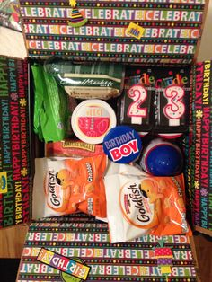 Birthday Deployment Care Package! Love it! Love you Jeremy!