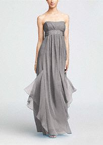 The picture of effortless beauty, this stunning crinkle chiffon dress will look fabulous on any figure in your bridal party!   Strapless bodice features subtle ruching to create texture.  Empire waist is adorned with dazzling beaded detail for addedsparkle.  Godets add fullness to the already flowing chiffon skirt.  Fully lined. Back zip. Dry clean only.