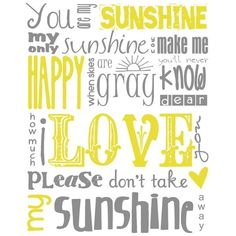You Are My Sunshine Subway Art Digital PRINTABLE 8x10 JPEG File... ❤ liked on Polyvore
