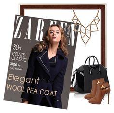 """Zareen Wool Pea Coat AC1202 Navy"" by zareen-canada on Polyvore featuring Givenchy, Giuseppe Zanotti and Chicnova Fashion"
