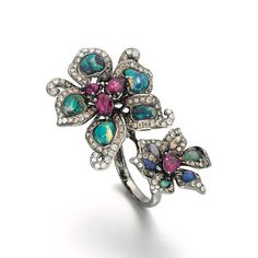 Double Floral Opal Ring - Wendy Yue