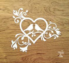 Love Birds Heart Design Papercutting by TommyandTillyDesign