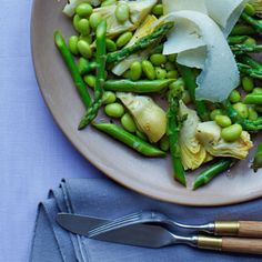 Today is National Eat Your Vegetables Day! Shelled edamame are very low in calories and fat, but packed with protein and fiber. Plus, artichokes and asparagus are rich in antioxidants. Toss in light citrus dressing for a little zest. | Health.com