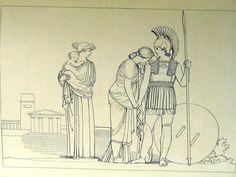 """Incontro tra Ettore ed Andromaca """" ma di gran pianto  Andromaca bagnata accostossi al marito...Oh troppo ardito! il tuovalor ti perderà"""" ( libro VI 478-482)"""