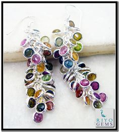 925 Sterling silver Designer handmade Tourmaline Silver Earring by Riyo Gems www.riyogems.com