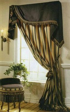 Asymmetrical window treatment: Moreland valance over tied back panel. Decor, Curtains With Blinds, Drapery Designs, Windows, Window Decor, Window Styles, Curtains, Window Coverings, Curtain Decor