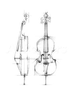 Cello Sketch Stretched Canvas Print autor Ethan Harper w Allposters.pl