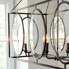 Orb Light Fixture, Dining Room Light Fixtures, Dining Room Lighting, Extension Rod, Glass Chandelier, Ballard Designs, Hanging Lights, Home Furnishings, House Design