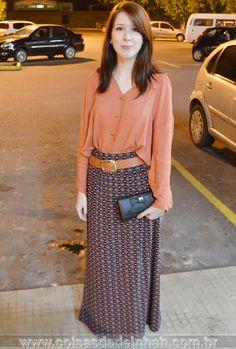 Look do dia: camisa coral + saia longa - Tudo combinado