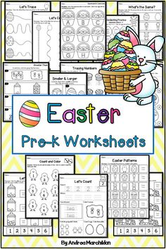 This Easter Packet for Kindergarten and Preschool students is perfect for improving fine motor skills like cutting, coloring, and tracing! These spring themed worksheet printables are the perfect Easter Activities For Preschool, Educational Activities For Kids, Preschool Education, Free Preschool, Preschool Printables, Writing Activities, Easter Printables, Easter Worksheets, Toddler Worksheets
